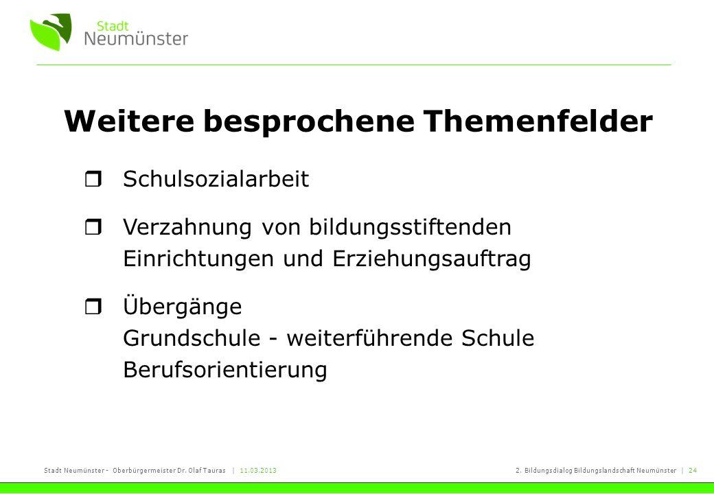 Stadt Neumünster - Oberbürgermeister Dr. Olaf Tauras | 11.03.20132. Bildungsdialog Bildungslandschaft Neumünster | 24 Weitere besprochene Themenfelder