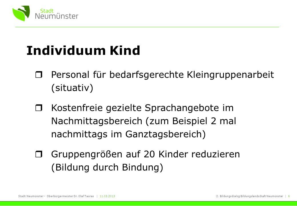 Stadt Neumünster - Oberbürgermeister Dr. Olaf Tauras | 11.03.20132. Bildungsdialog Bildungslandschaft Neumünster | 6 Individuum Kind Personal für beda