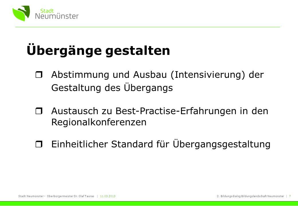 Stadt Neumünster - Oberbürgermeister Dr. Olaf Tauras | 11.03.20132. Bildungsdialog Bildungslandschaft Neumünster | 7 Übergänge gestalten Abstimmung un