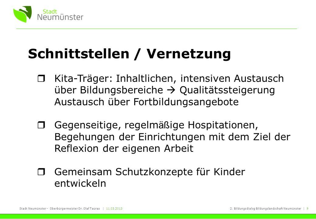 Stadt Neumünster - Oberbürgermeister Dr. Olaf Tauras | 11.03.20132. Bildungsdialog Bildungslandschaft Neumünster | 9 Schnittstellen / Vernetzung Kita-