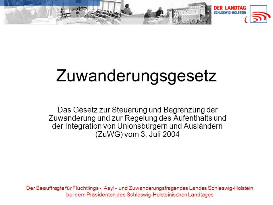 Der Beauftragte für Flüchtlings -, Asyl - und Zuwanderungsfragendes Landes Schleswig-Holstein bei dem Präsidenten des Schleswig-Holsteinischen Landtages Anspruch auf Erteilung einer Aufenthaltserlaubnis Asylberechtigte (§ 25 Abs.