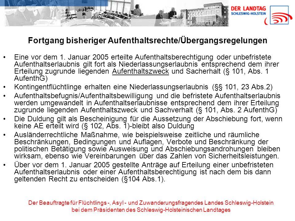 Der Beauftragte für Flüchtlings -, Asyl - und Zuwanderungsfragendes Landes Schleswig-Holstein bei dem Präsidenten des Schleswig-Holsteinischen Landtag