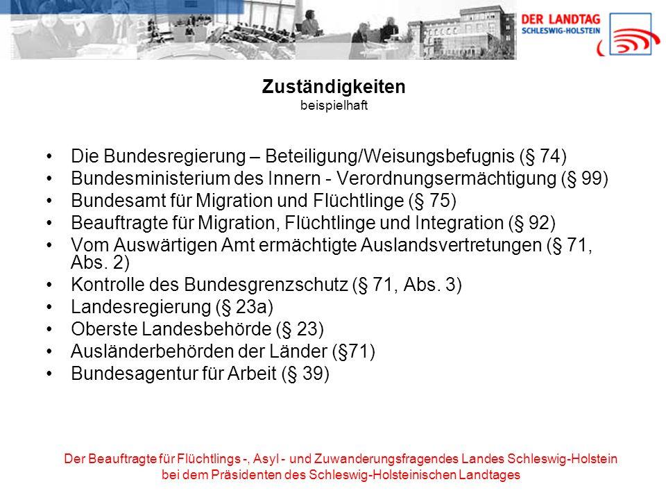 Der Beauftragte für Flüchtlings -, Asyl - und Zuwanderungsfragendes Landes Schleswig-Holstein bei dem Präsidenten des Schleswig-Holsteinischen Landtages Aufenthaltsrechte Aufenthaltstitel sind: Aufenthaltserlaubnis (befristet und zweckgebunden) Niederlassungserlaubnis (nicht befristet, ohne Zweckbindung) Visum Hierneben gibt es: Aufenthaltsgestattung zur Durchführung des Asylverfahrens (§ 55 AsylVfG) Duldung (§ 60a) Betretenserlaubnis (§ 11, Abs.