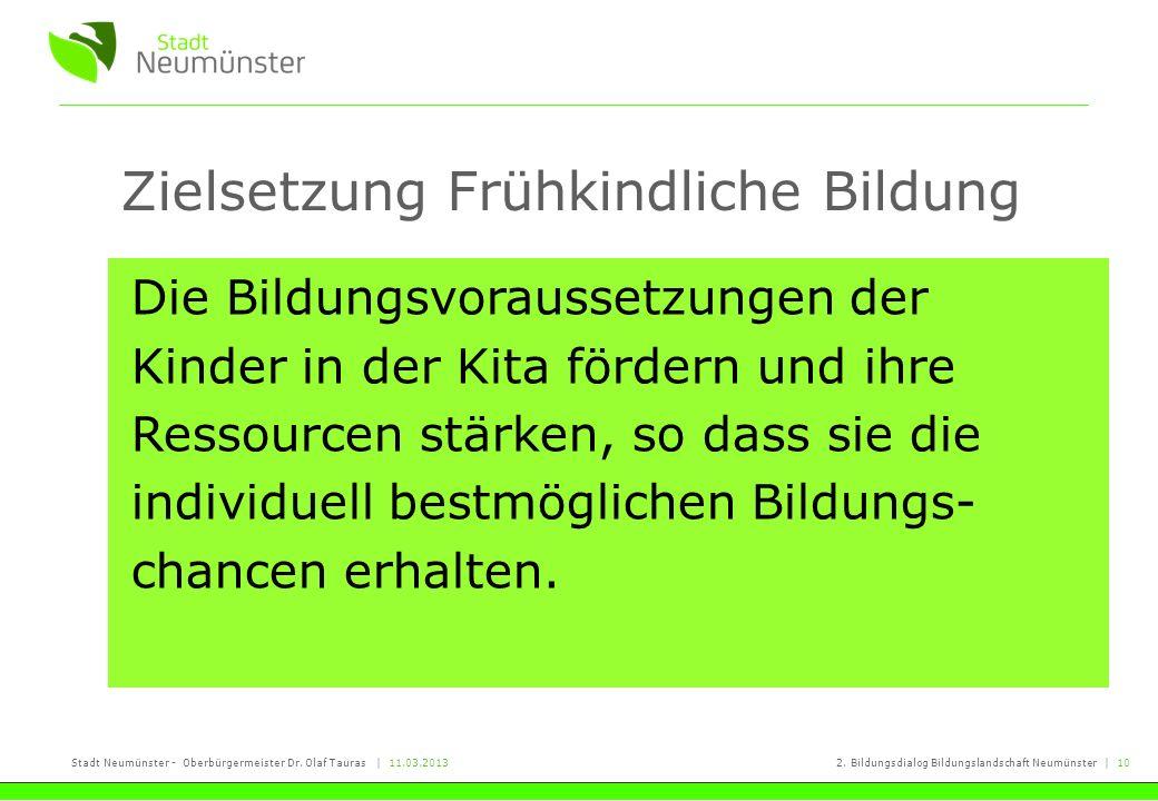 Stadt Neumünster - Oberbürgermeister Dr. Olaf Tauras   11.03.20132. Bildungsdialog Bildungslandschaft Neumünster   10 Zielsetzung Frühkindliche Bildun