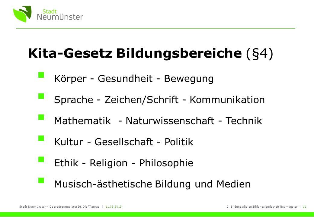 Stadt Neumünster - Oberbürgermeister Dr. Olaf Tauras   11.03.20132. Bildungsdialog Bildungslandschaft Neumünster   11 Kita-Gesetz Bildungsbereiche (§4