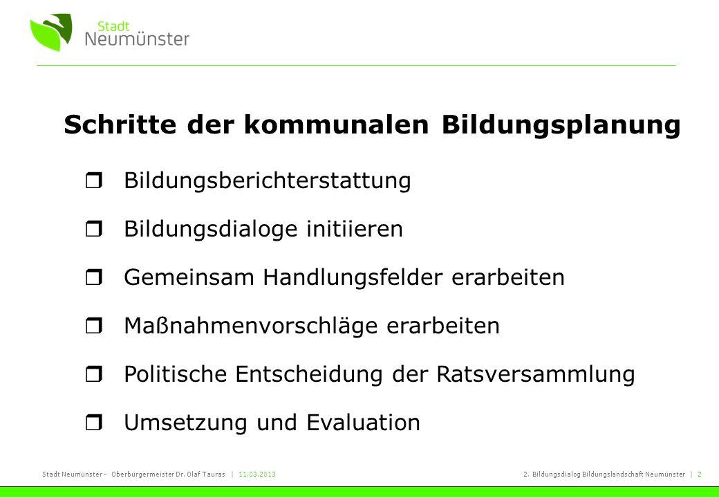 Stadt Neumünster - Oberbürgermeister Dr. Olaf Tauras   11.03.20132. Bildungsdialog Bildungslandschaft Neumünster   2 Schritte der kommunalen Bildungsp