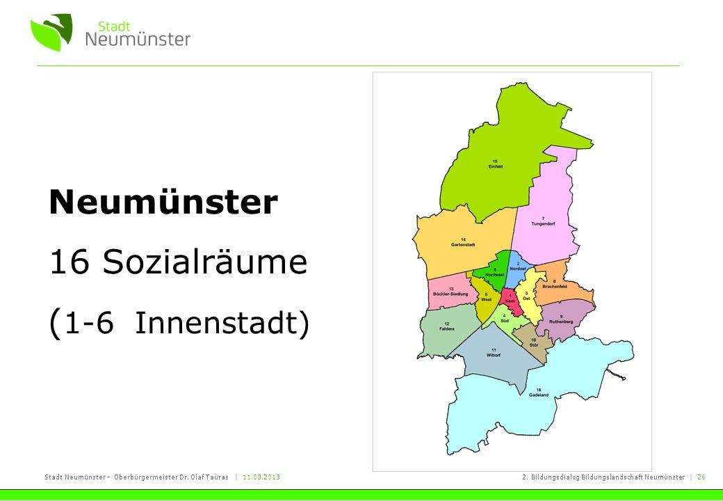 Stadt Neumünster - Oberbürgermeister Dr. Olaf Tauras   11.03.20132. Bildungsdialog Bildungslandschaft Neumünster   26 Neumünster 16 Sozialräume ( 1-6