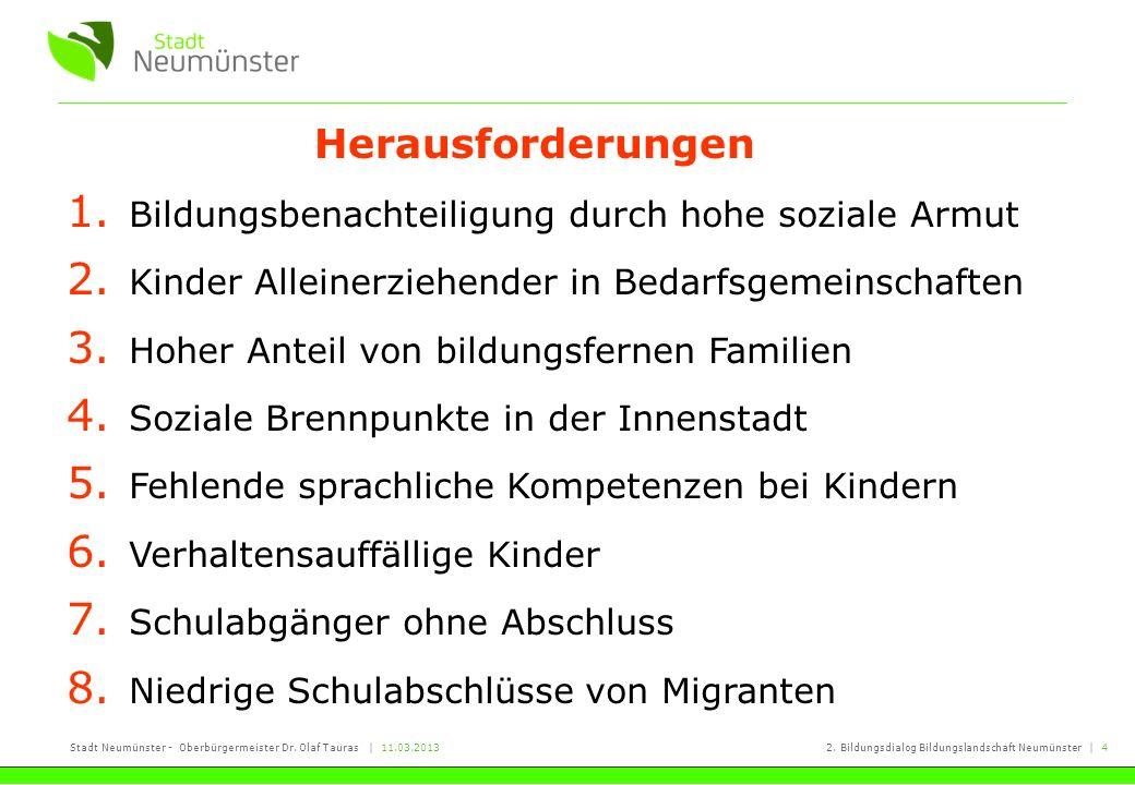 Stadt Neumünster - Oberbürgermeister Dr. Olaf Tauras   11.03.20132. Bildungsdialog Bildungslandschaft Neumünster   4 1. Bildungsbenachteiligung durch
