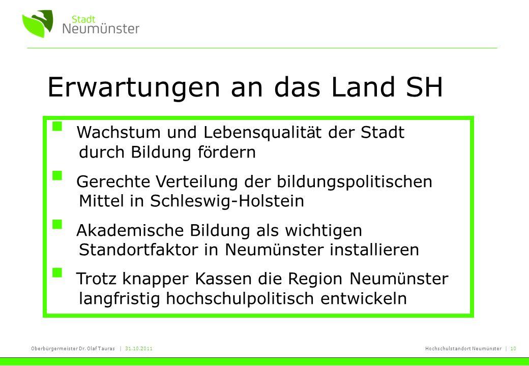 Oberbürgermeister Dr. Olaf Tauras | 31.10.2011Hochschulstandort Neumünster | 10 Erwartungen an das Land SH Wachstum und Lebensqualit ä t der Stadt dur