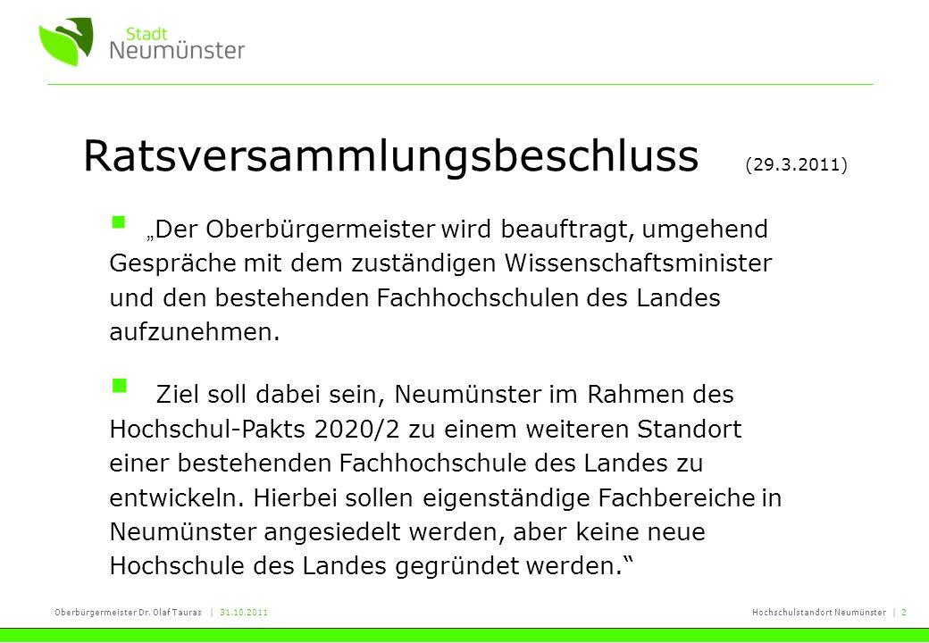 Oberbürgermeister Dr. Olaf Tauras | 31.10.2011Hochschulstandort Neumünster | 2 Ratsversammlungsbeschluss (29.3.2011) Der Oberbürgermeister wird beauft