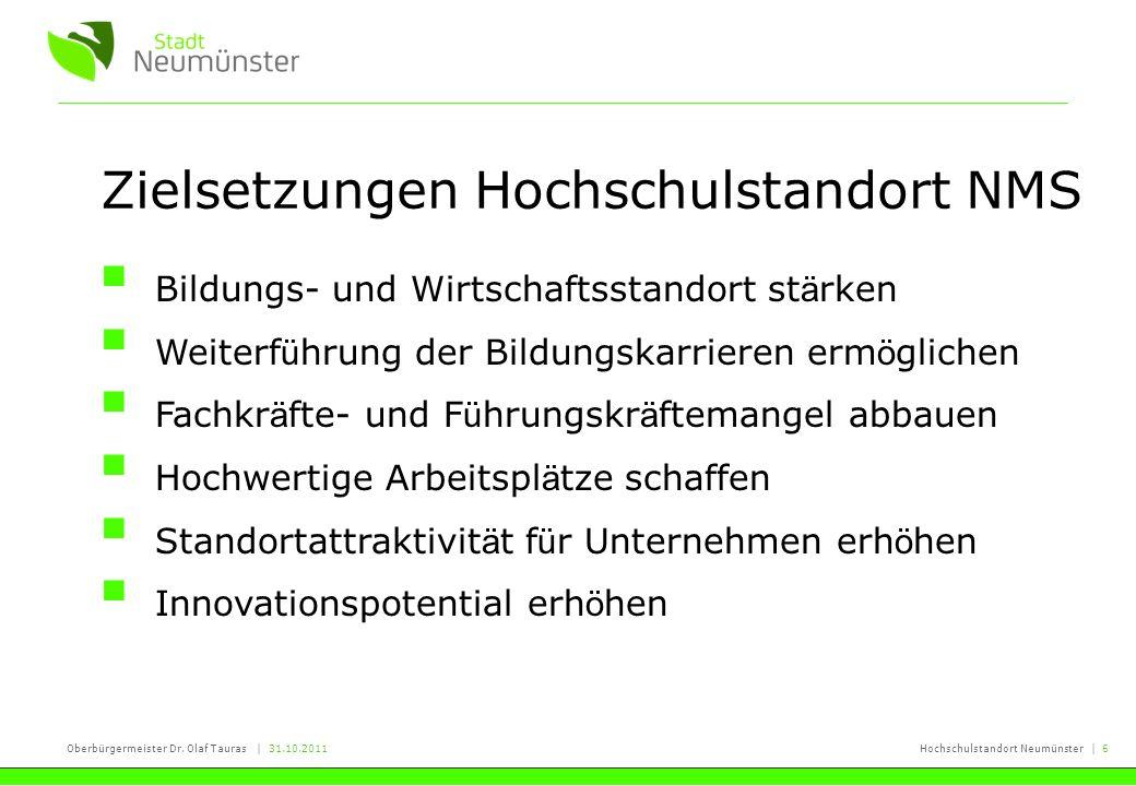 Oberbürgermeister Dr. Olaf Tauras | 31.10.2011Hochschulstandort Neumünster | 6 Zielsetzungen Hochschulstandort NMS Bildungs- und Wirtschaftsstandort s