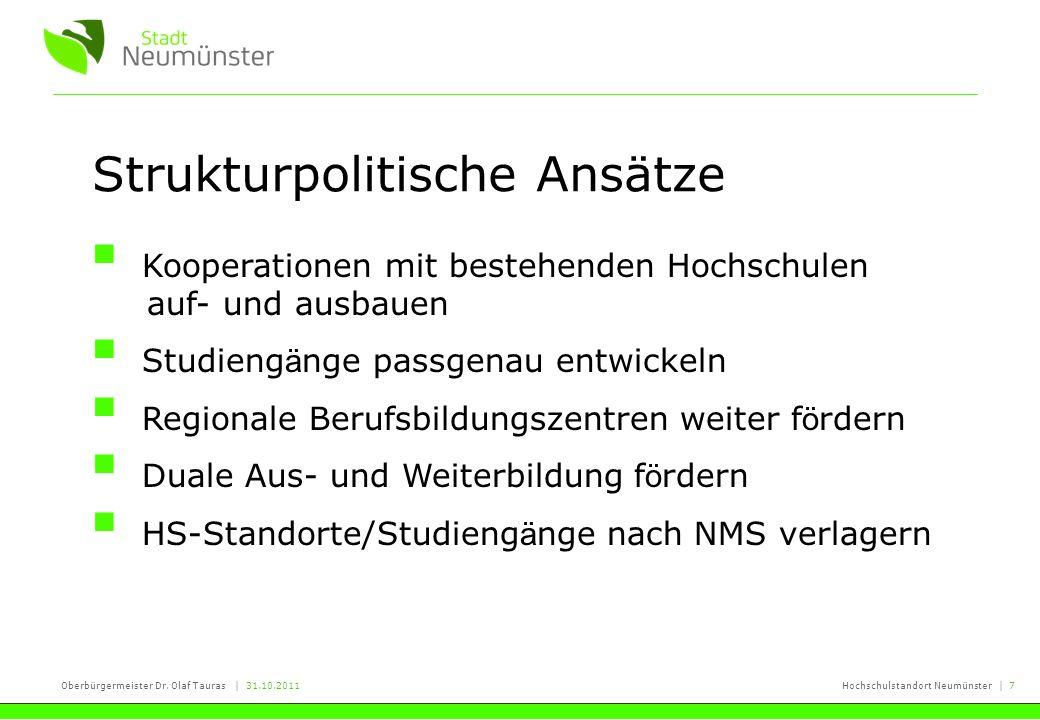 Oberbürgermeister Dr. Olaf Tauras | 31.10.2011Hochschulstandort Neumünster | 7 Strukturpolitische Ansätze Kooperationen mit bestehenden Hochschulen au