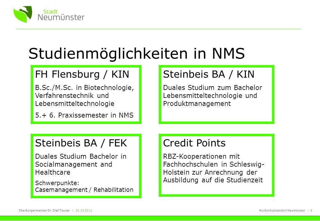 Oberbürgermeister Dr. Olaf Tauras | 31.10.2011Hochschulstandort Neumünster | 8 Studienmöglichkeiten in NMS FH Flensburg / KIN B.Sc./M.Sc. in Biotechno