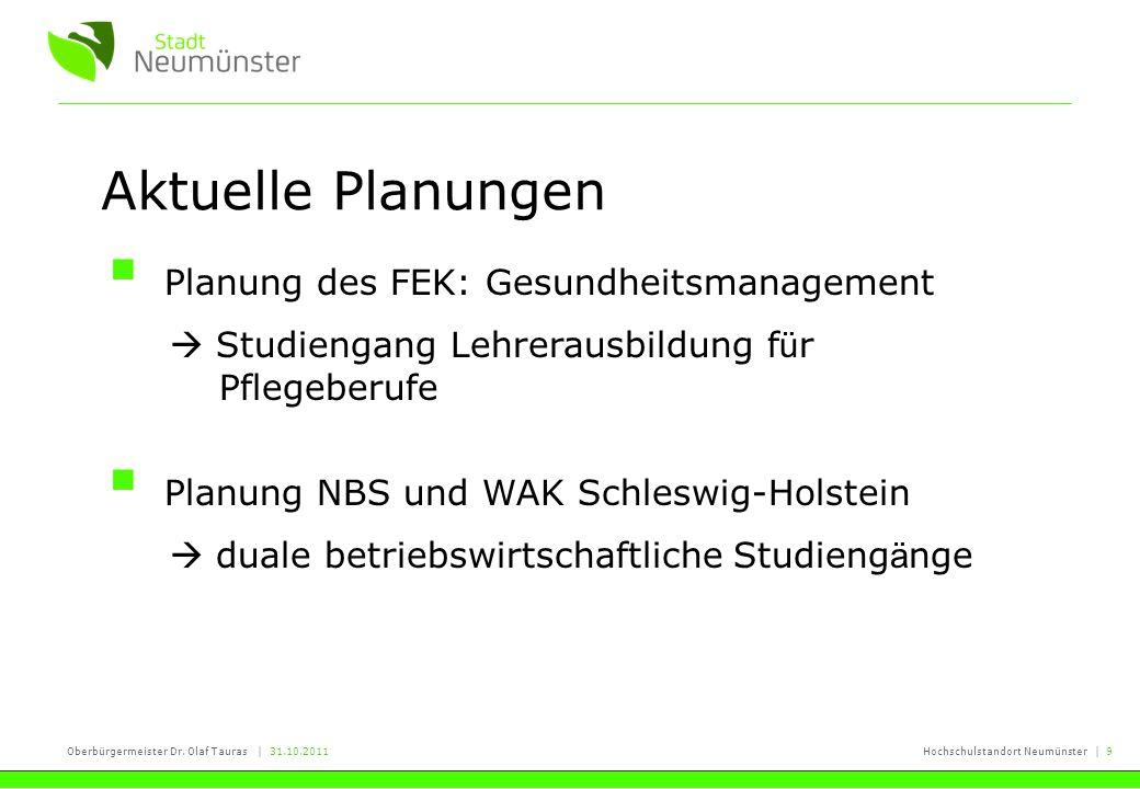 Oberbürgermeister Dr. Olaf Tauras | 31.10.2011Hochschulstandort Neumünster | 9 Aktuelle Planungen Planung des FEK: Gesundheitsmanagement Studiengang L