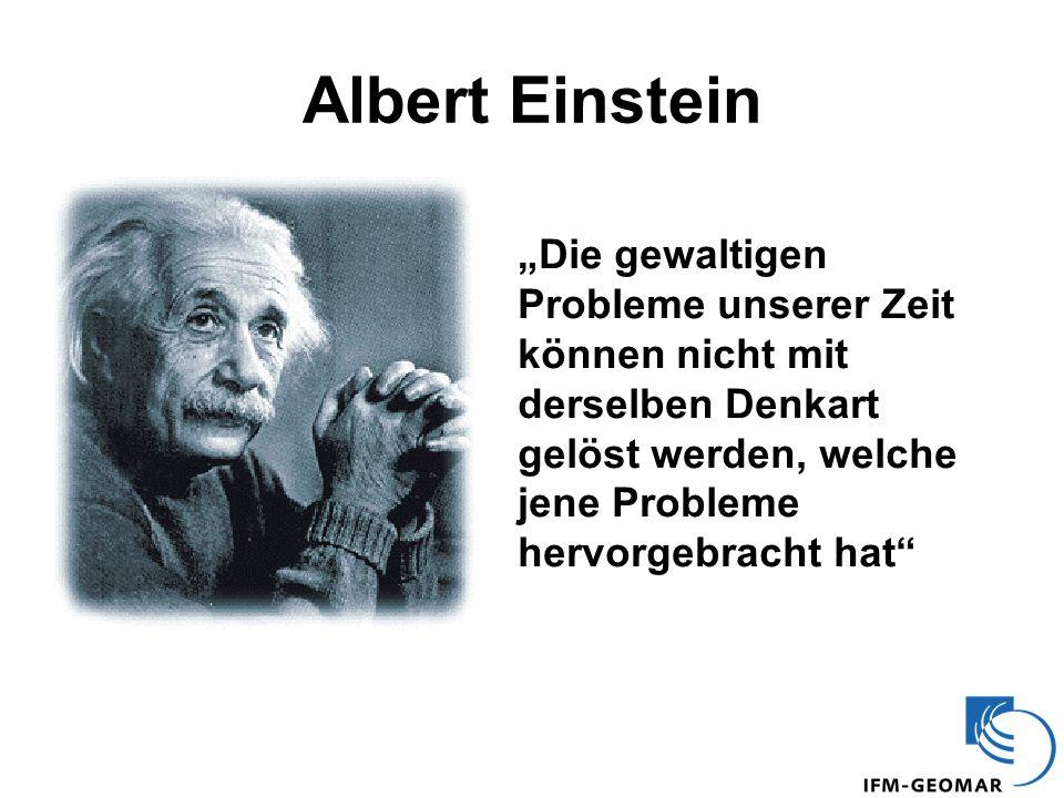 Albert Einstein Die gewaltigen Probleme unserer Zeit können nicht mit derselben Denkart gelöst werden, welche jene Probleme hervorgebracht hat