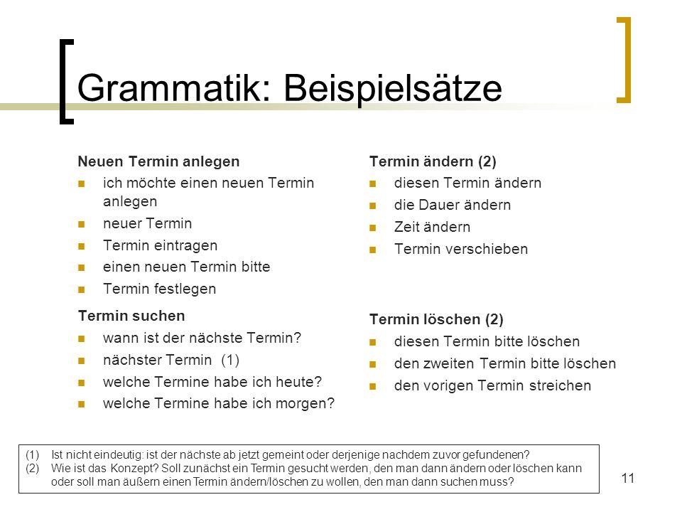 11 Grammatik: Beispielsätze Neuen Termin anlegen ich möchte einen neuen Termin anlegen neuer Termin Termin eintragen einen neuen Termin bitte Termin f
