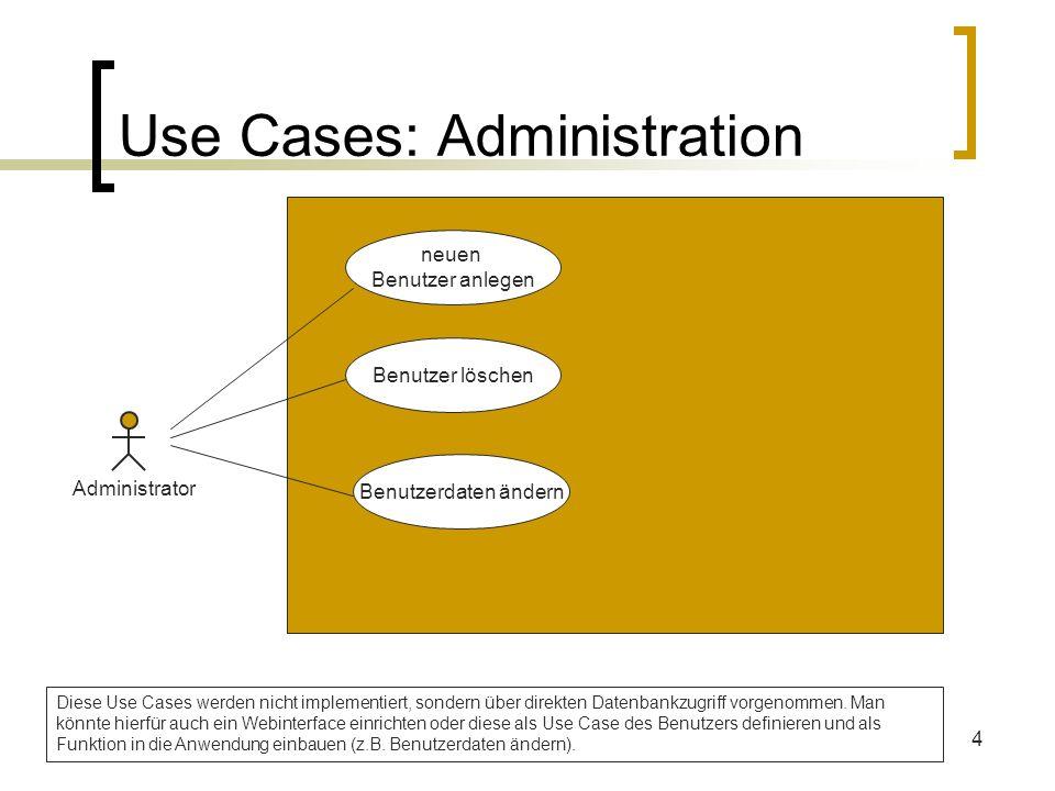 4 Use Cases: Administration Administrator neuen Benutzer anlegen Benutzer löschen Benutzerdaten ändern Diese Use Cases werden nicht implementiert, son