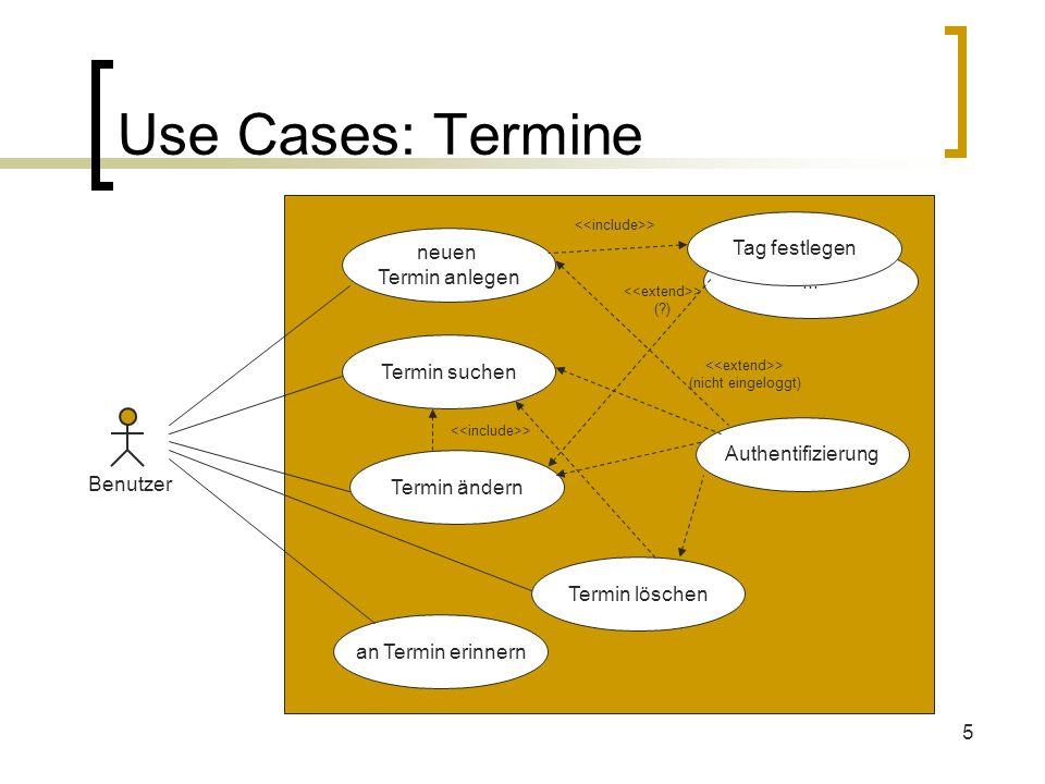 5... Use Cases: Termine Benutzer neuen Termin anlegen Termin suchen Termin ändern Authentifizierung > (nicht eingeloggt) > Termin löschen an Termin er