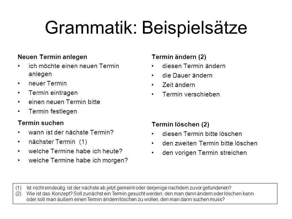 Grammatik: Beispielsätze Neuen Termin anlegen ich möchte einen neuen Termin anlegen neuer Termin Termin eintragen einen neuen Termin bitte Termin festlegen Termin suchen wann ist der nächste Termin.