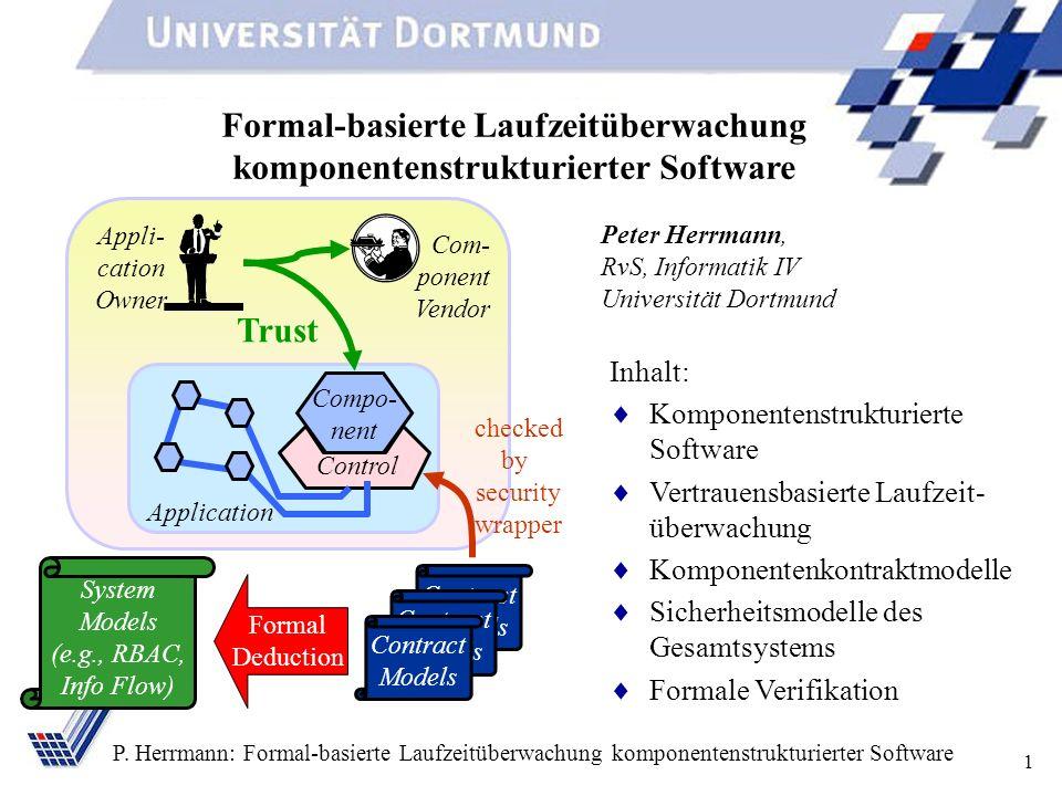 1 P. Herrmann: Formal-basierte Laufzeitüberwachung komponentenstrukturierter Software Formal-basierte Laufzeitüberwachung komponentenstrukturierter So