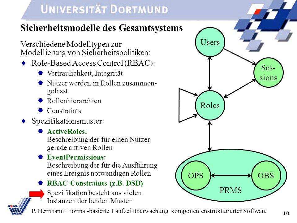 10 P. Herrmann: Formal-basierte Laufzeitüberwachung komponentenstrukturierter Software Sicherheitsmodelle des Gesamtsystems Verschiedene Modelltypen z