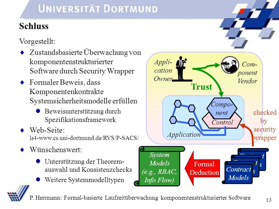 13 P. Herrmann: Formal-basierte Laufzeitüberwachung komponentenstrukturierter Software Schluss Vorgestellt: Zustandsbasierte Überwachung von komponent