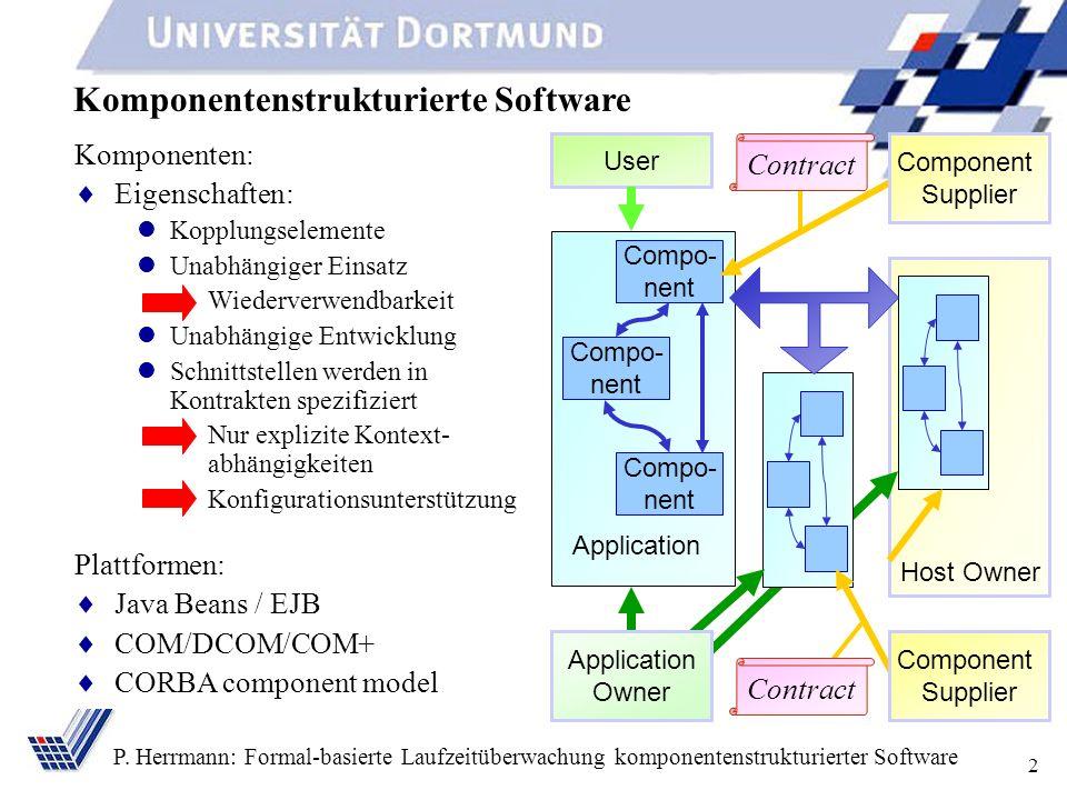 2 P. Herrmann: Formal-basierte Laufzeitüberwachung komponentenstrukturierter Software Komponentenstrukturierte Software Komponenten: Eigenschaften: Ko