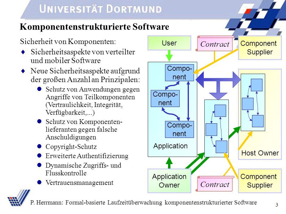 3 P. Herrmann: Formal-basierte Laufzeitüberwachung komponentenstrukturierter Software Komponentenstrukturierte Software Host Owner Compo- nent Applica