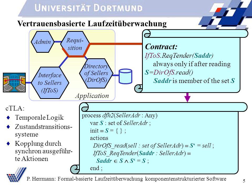 5 P. Herrmann: Formal-basierte Laufzeitüberwachung komponentenstrukturierter Software Vertrauensbasierte Laufzeitüberwachung Application Admin Requi-