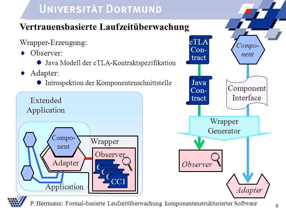 6 P. Herrmann: Formal-basierte Laufzeitüberwachung komponentenstrukturierter Software Vertrauensbasierte Laufzeitüberwachung Application Compo- nent A