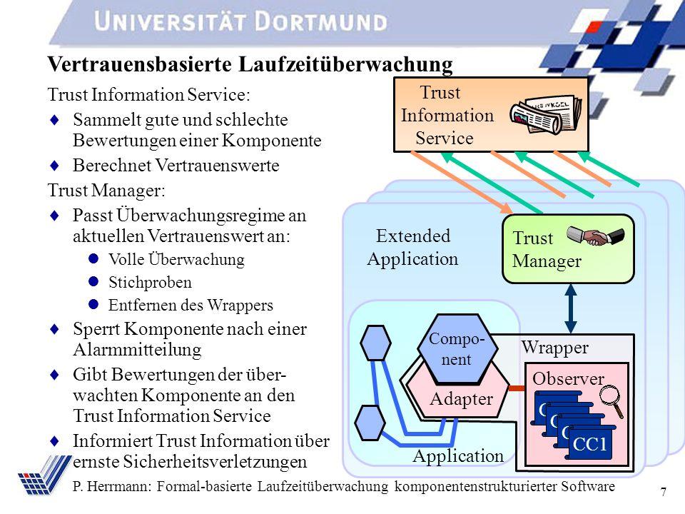 7 P. Herrmann: Formal-basierte Laufzeitüberwachung komponentenstrukturierter Software Vertrauensbasierte Laufzeitüberwachung Application Compo- nent A