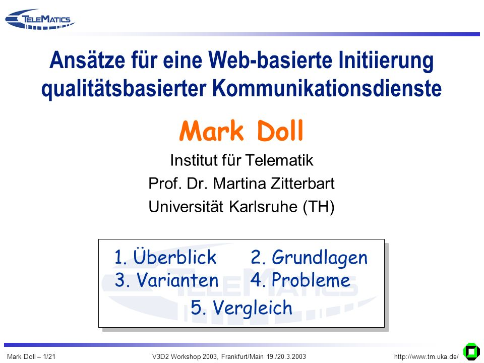 Mark Doll – 1/21V3D2 Workshop 2003, Frankfurt/Main 19./20.3.2003http://www.tm.uka.de/ Ansätze für eine Web-basierte Initiierung qualitätsbasierter Kommunikationsdienste Institut für Telematik Prof.
