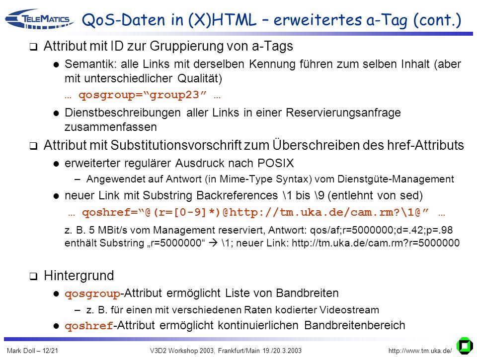 Mark Doll – 12/21V3D2 Workshop 2003, Frankfurt/Main 19./20.3.2003http://www.tm.uka.de/ QoS-Daten in (X)HTML – erweitertes a-Tag (cont.) Attribut mit I