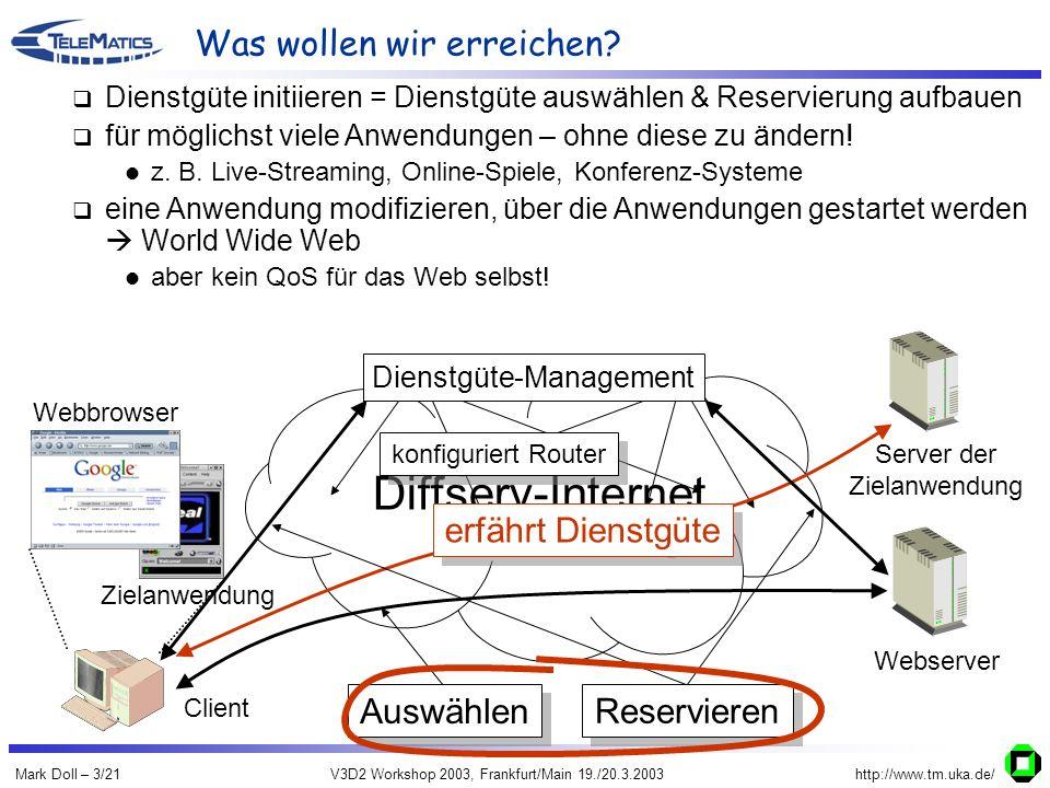 Mark Doll – 3/21V3D2 Workshop 2003, Frankfurt/Main 19./20.3.2003http://www.tm.uka.de/ Diffserv-Internet Was wollen wir erreichen? Webserver Server der
