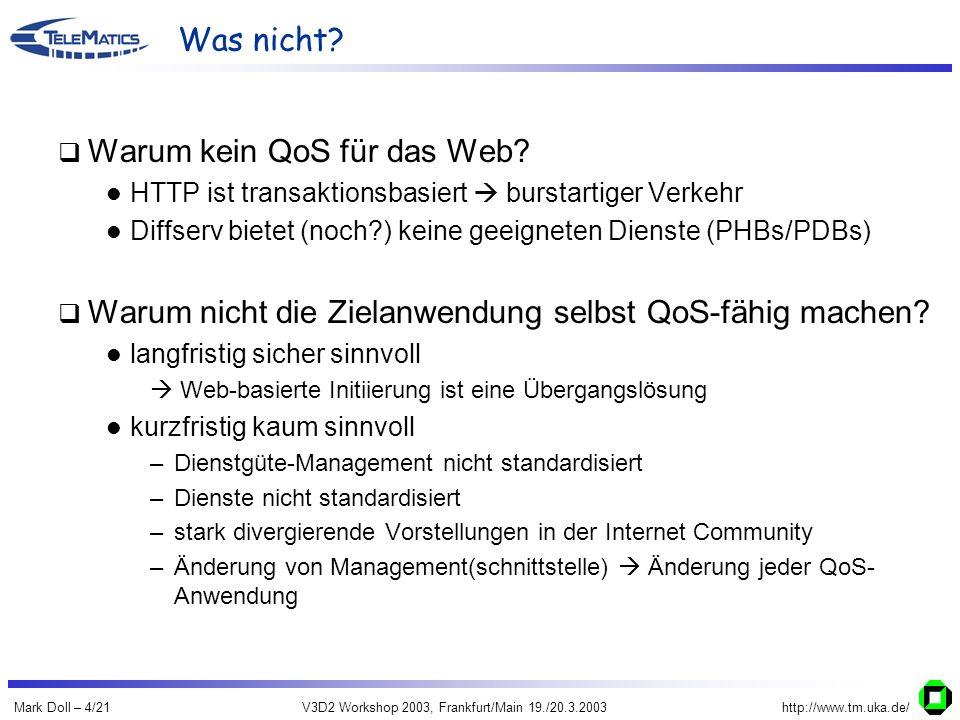 Mark Doll – 4/21V3D2 Workshop 2003, Frankfurt/Main 19./20.3.2003http://www.tm.uka.de/ Was nicht? Warum kein QoS für das Web? HTTP ist transaktionsbasi