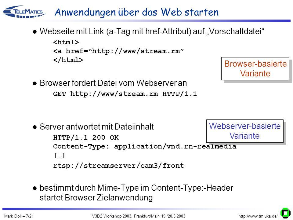 Mark Doll – 7/21V3D2 Workshop 2003, Frankfurt/Main 19./20.3.2003http://www.tm.uka.de/ Anwendungen über das Web starten Webseite mit Link (a-Tag mit href-Attribut) auf Vorschaltdatei Browser reserviert entsprechend QoS-Attribut Browser fordert Datei vom Webserver an GET http://www/stream.rm HTTP/1.1 Server reserviert entsprechend lokal gespeicherter QoS-Informationen (je Vorschaltdatei ein Datensatz) Server antwortet mit Dateiinhalt HTTP/1.1 200 OK Content-Type: application/vnd.rn-realmedia […] rtsp://streamserver/cam3/front bestimmt durch Mime-Type im Content-Type:-Header startet Browser Zielanwendung Browser-basierte Variante Browser-basierte Variante Webserver-basierte Variante Webserver-basierte Variante
