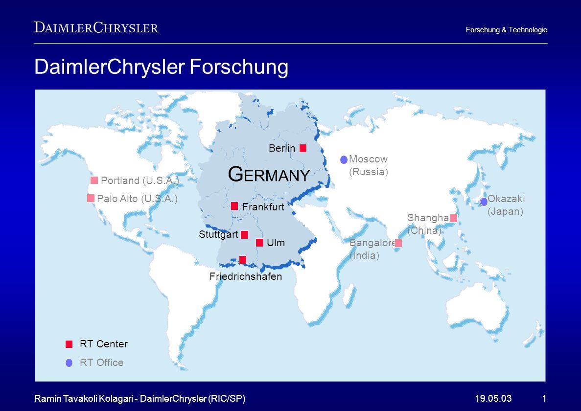 Ramin Tavakoli Kolagari - DaimlerChrysler (RIC/SP)19.05.031 Forschung & Technologie DaimlerChrysler Forschung Portland (U.S.A.) Palo Alto (U.S.A.) Ban