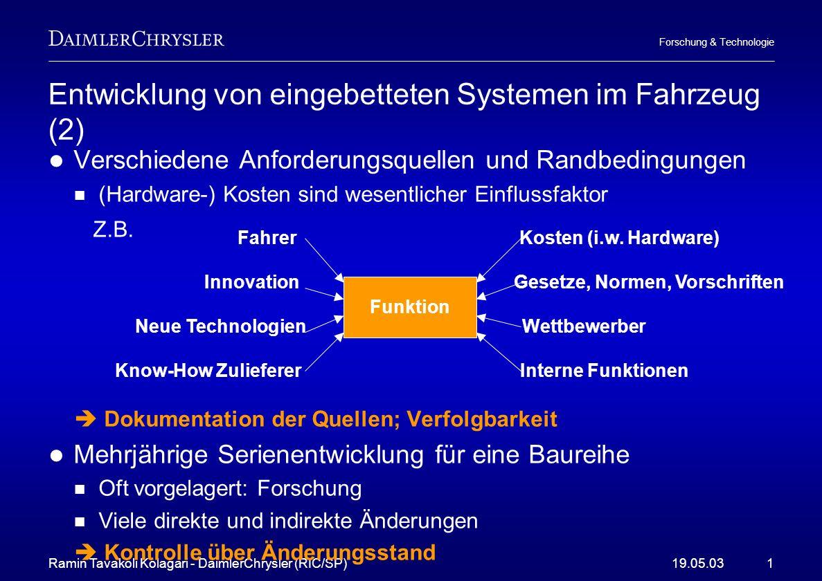 Ramin Tavakoli Kolagari - DaimlerChrysler (RIC/SP)19.05.031 Forschung & Technologie Entwicklung von eingebetteten Systemen im Fahrzeug (2) Verschieden