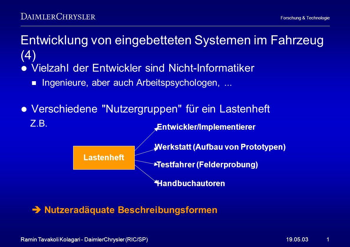 Ramin Tavakoli Kolagari - DaimlerChrysler (RIC/SP)19.05.031 Forschung & Technologie Entwicklung von eingebetteten Systemen im Fahrzeug (4) Vielzahl de