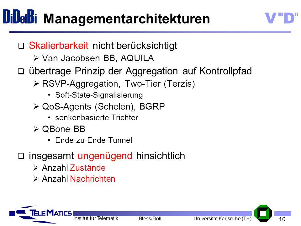 10 Institut für Telematik Universität Karlsruhe (TH)Bless/Doll VD D i D el B i Managementarchitekturen Skalierbarkeit nicht berücksichtigt Van Jacobse