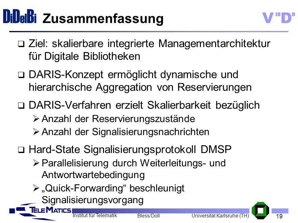 19 Institut für Telematik Universität Karlsruhe (TH)Bless/Doll VD D i D el B i Zusammenfassung Ziel: skalierbare integrierte Managementarchitektur für
