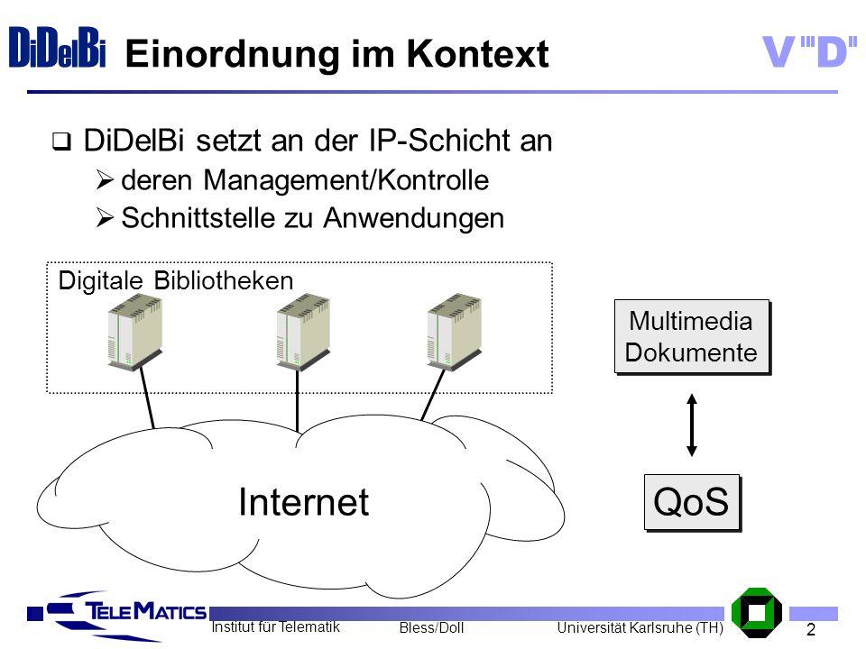 2 Institut für Telematik Universität Karlsruhe (TH)Bless/Doll VD D i D el B i Einordnung im Kontext DiDelBi setzt an der IP-Schicht an deren Managemen