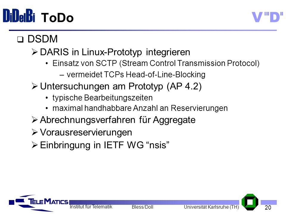 20 Institut für Telematik Universität Karlsruhe (TH)Bless/Doll VD D i D el B i ToDo DSDM DARIS in Linux-Prototyp integrieren Einsatz von SCTP (Stream