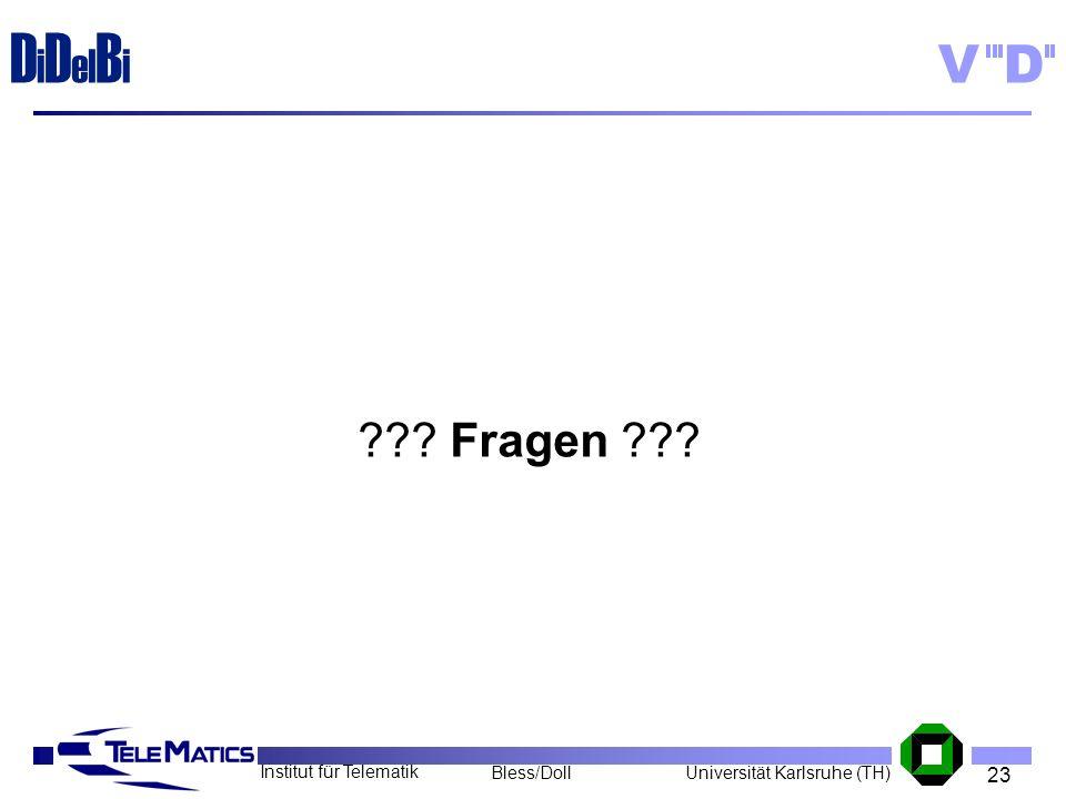 23 Institut für Telematik Universität Karlsruhe (TH)Bless/Doll VD D i D el B i ??? Fragen ???
