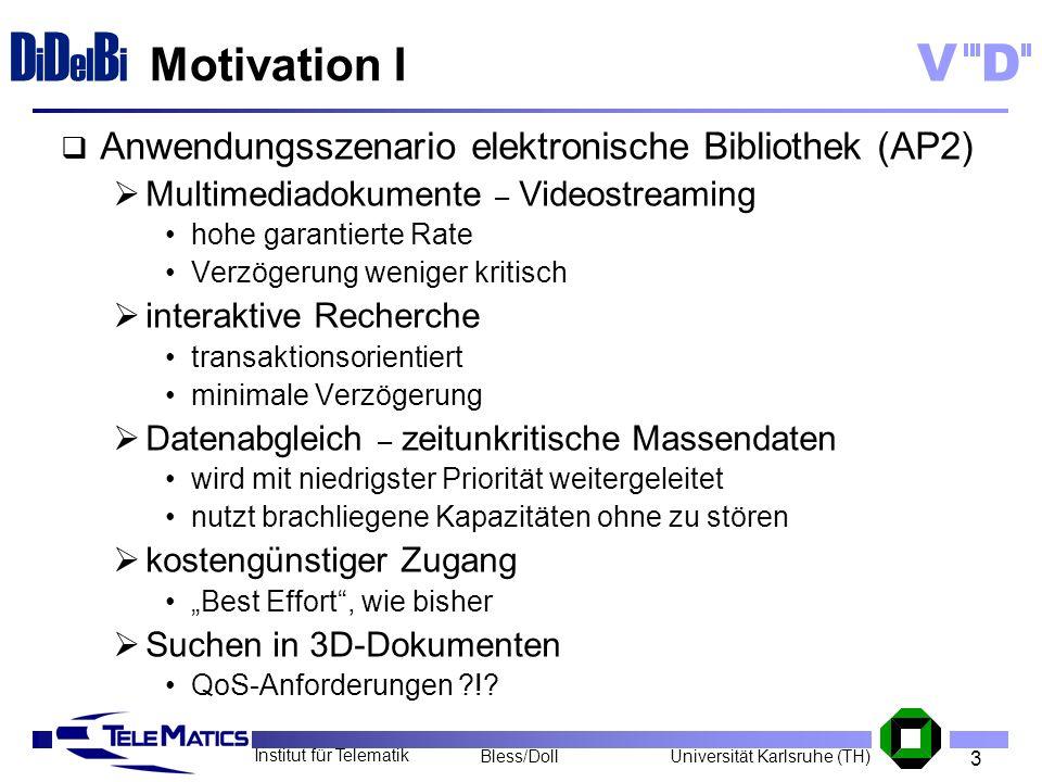 3 Institut für Telematik Universität Karlsruhe (TH)Bless/Doll VD D i D el B i Motivation I Anwendungsszenario elektronische Bibliothek (AP2) Multimedi
