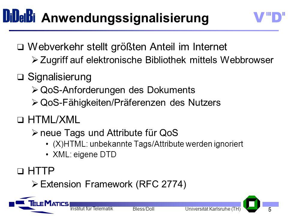 5 Institut für Telematik Universität Karlsruhe (TH)Bless/Doll VD D i D el B i Anwendungssignalisierung Webverkehr stellt größten Anteil im Internet Zu