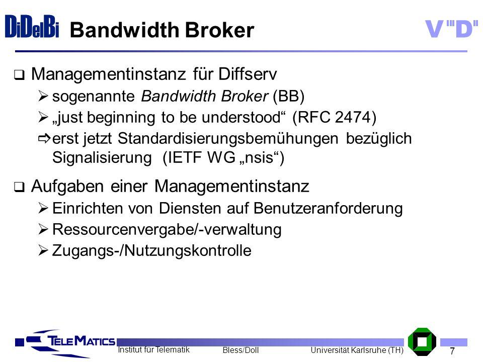 7 Institut für Telematik Universität Karlsruhe (TH)Bless/Doll VD D i D el B i Bandwidth Broker Managementinstanz für Diffserv sogenannte Bandwidth Bro
