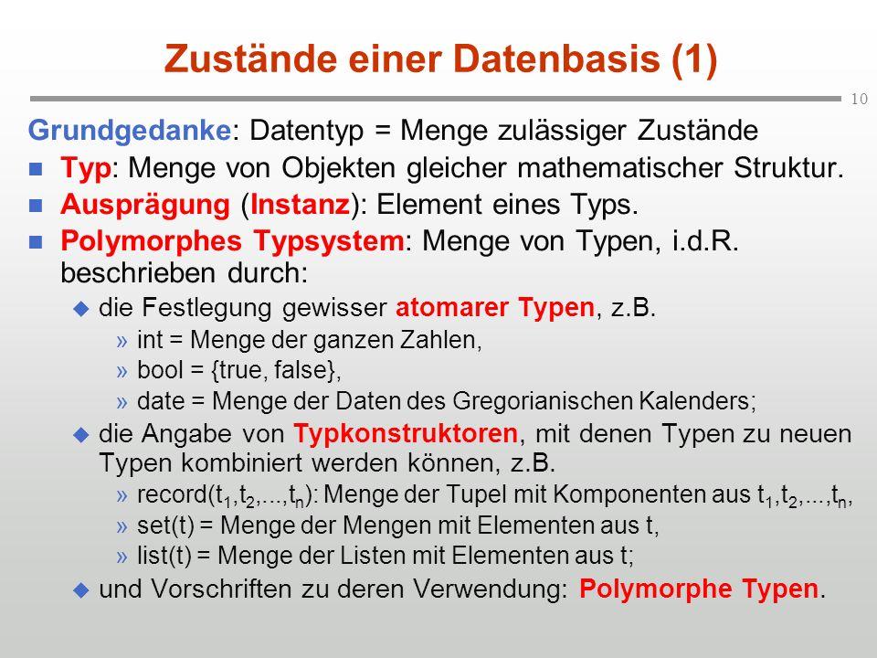 10 Zustände einer Datenbasis (1) Grundgedanke: Datentyp = Menge zulässiger Zustände n Typ: Menge von Objekten gleicher mathematischer Struktur. n Ausp