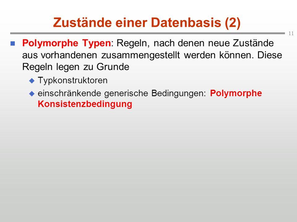 11 Zustände einer Datenbasis (2) n Polymorphe Typen: Regeln, nach denen neue Zustände aus vorhandenen zusammengestellt werden können. Diese Regeln leg