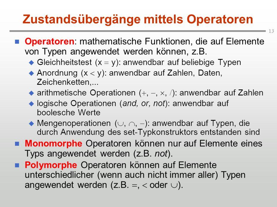 13 Zustandsübergänge mittels Operatoren n Operatoren: mathematische Funktionen, die auf Elemente von Typen angewendet werden können, z.B. u Gleichheit